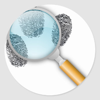 Detective Clues Find Finger Fingerprints Mystery Classic Round Sticker