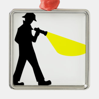 Detective with Flashlight Metal Ornament