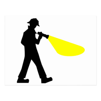 Detective with Flashlight Postcard