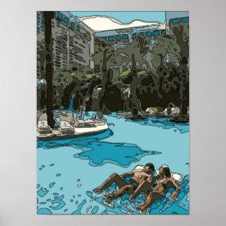 Détente par le côté de piscine à Vegas Affiches