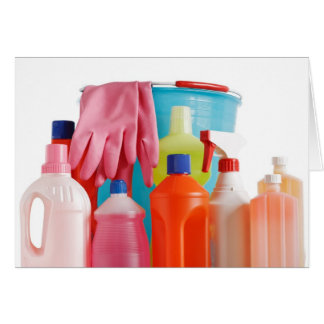 detergent bottles and bucket card