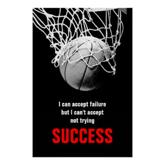 Determination Success Quote Basketball Poster