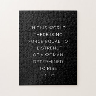 Determined Woman Inspirational Quote Black White Jigsaw Puzzle