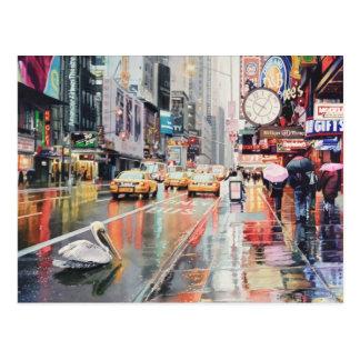 """""""Detour"""" Pelican in New York Watercolor Postcard"""