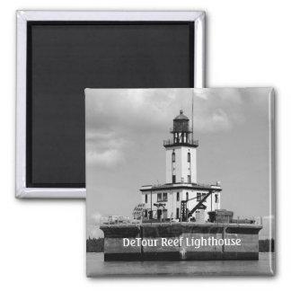 DeTour Reef Lighthouse Square Magnet
