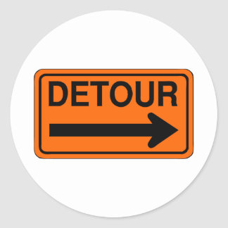 detour right orange sign classic round sticker
