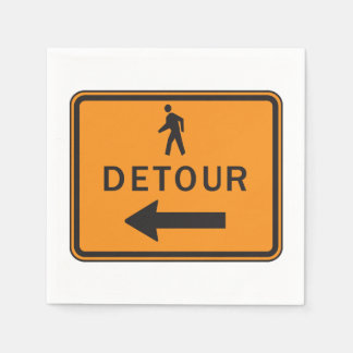 Detour Sign Paper Napkins