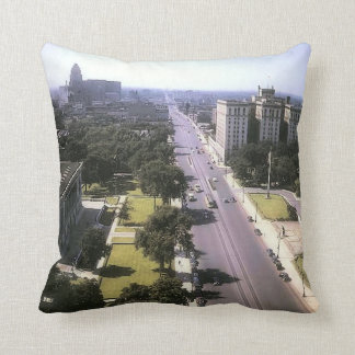 Detroit 1942 - Woodward Avenue looking North Throw Pillow