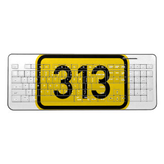 Detroit 313 Area Code Road Sign Wireless Keyboard