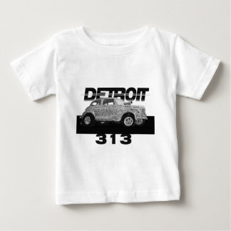 Detroit 313 Area Code Skecth Hot Rod Chevy wow Baby T-Shirt