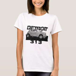 Detroit 313 Area Code Skecth Hot Rod Chevy wow T-Shirt