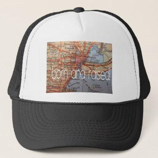 detroit born and raised trucker hat