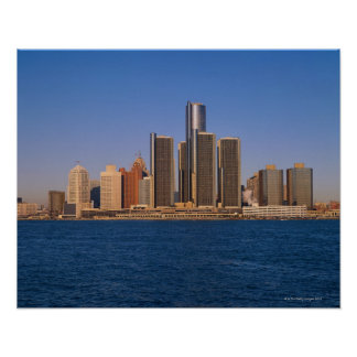 Detroit buildings on the water poster