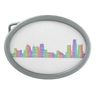 Detroit city skyline belt buckle