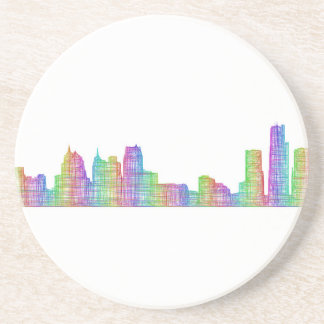 Detroit city skyline coaster