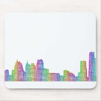 Detroit city skyline mouse pad
