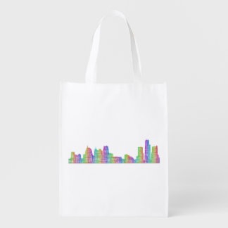 Detroit city skyline reusable grocery bag