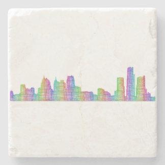 Detroit city skyline stone coaster