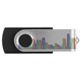 Detroit city skyline swivel USB 3.0 flash drive