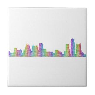 Detroit city skyline tile
