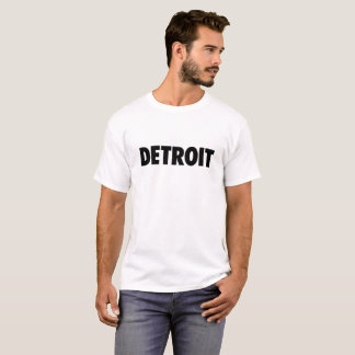 Detroit in black text on light t-shirt