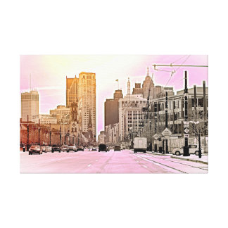 Detroit In Pink Canvas Print
