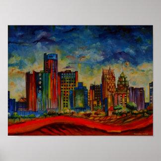 Detroit IV Cityscape Poster