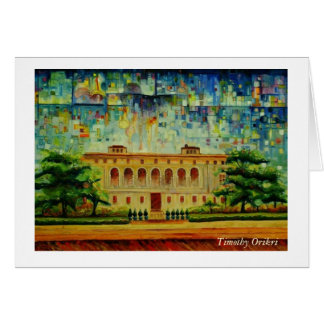 """Detroit Main Library Rendition"" Greeting Card"