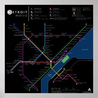 "Detroit Metro Poster 24"" x 24"" (Dark)"