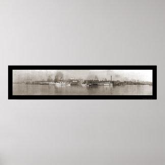 Detroit, MI Riverfront Photo 1908 Poster