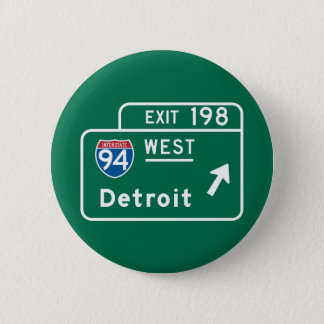 Detroit, MI Road Sign 2 Inch Round Button