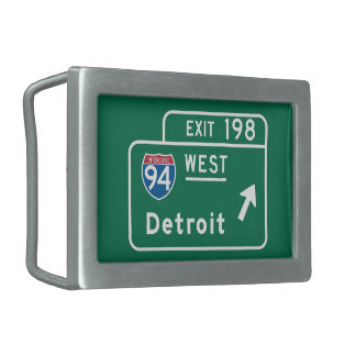 Detroit, MI Road Sign Rectangular Belt Buckle