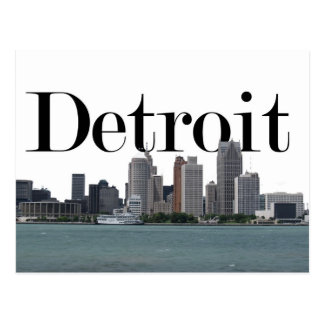 Detroit MI Skyline with Detroit in the Sky Postcard