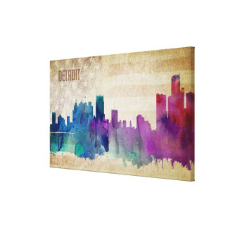 Detroit, MI | Watercolor City Skyline Canvas Print