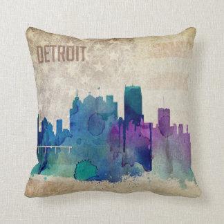 Detroit, MI | Watercolor City Skyline Throw Pillow