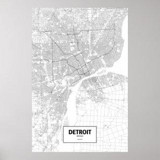 Detroit, Michigan (black on white) Poster
