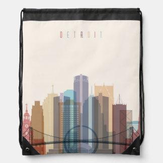 Detroit, Michigan   City Skyline Drawstring Bag