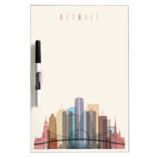 Detroit, Michigan | City Skyline Dry Erase Board