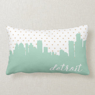 Detroit, Michigan city skyline | mint Lumbar Pillow