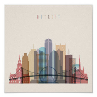 Detroit, Michigan | City Skyline Poster