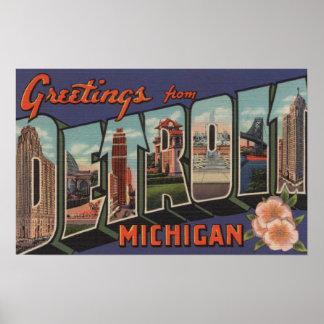 Detroit, Michigan - Large Letter Scenes Poster