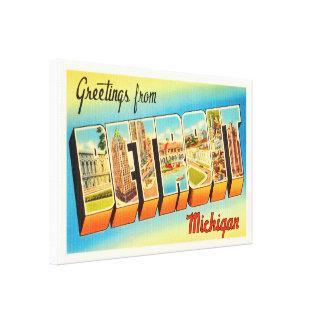 Detroit Michigan MI Old Vintage Travel Souvenir Canvas Print