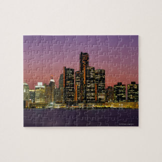 Detroit, Michigan Skyline at Night Jigsaw Puzzle