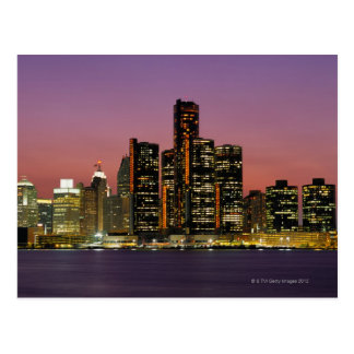 Detroit, Michigan Skyline at Night Postcard