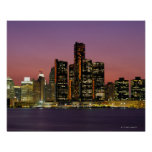 Detroit, Michigan Skyline at Night Poster