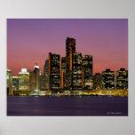 Detroit, Michigan Skyline at Night Posters