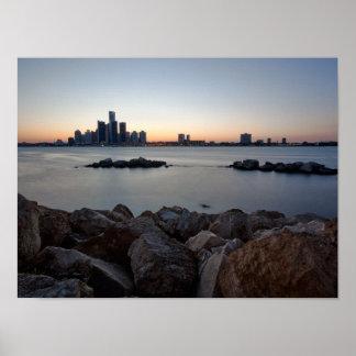 Detroit, Michigan Skyline Poster