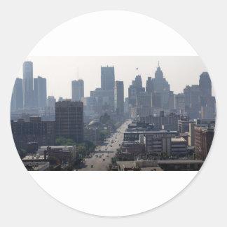 Detroit Michingan Skyline Classic Round Sticker