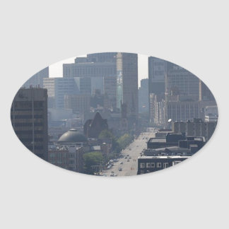 Detroit Michingan Skyline Oval Sticker