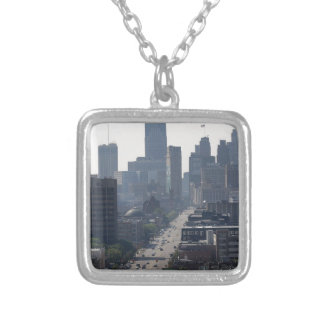Detroit Michingan Skyline Silver Plated Necklace